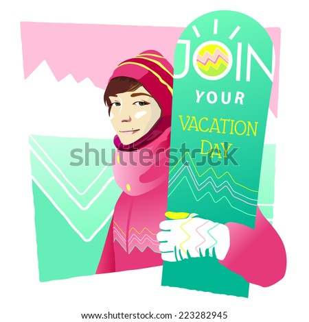 Vector illustration of the colorful girl with snowboard on mountains background for your design - stock vector