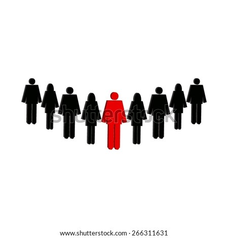 Vector illustration of The Company. A group of people led by the chief. 3D image of black and red color on a white background. - stock vector