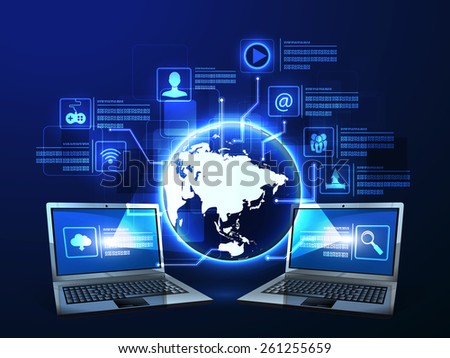 Vector illustration of the concept of Internet technology - stock vector