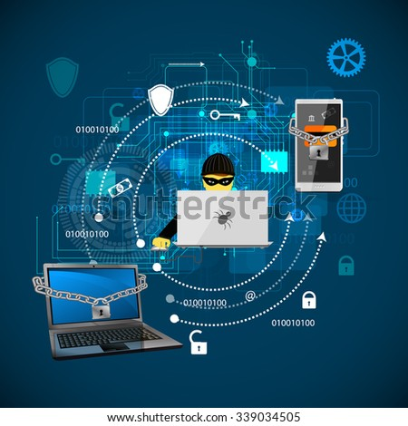 Vector illustration of the concept of protection against hacking. - stock vector