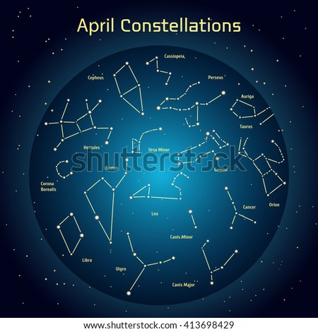 Vector illustration of the constellations of the night sky in April. Glowing a dark blue circle with stars in space Design elements relating to astronomy and astrology - stock vector