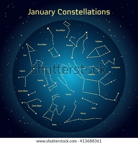 Vector illustration of the constellations of the night sky in January. Glowing a dark blue circle with stars in space Design elements relating to astronomy and astrology - stock vector