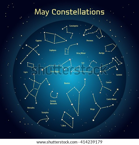 Vector illustration of the constellations of the night sky in May. Glowing a dark blue circle with stars in space Design elements relating to astronomy and astrology - stock vector