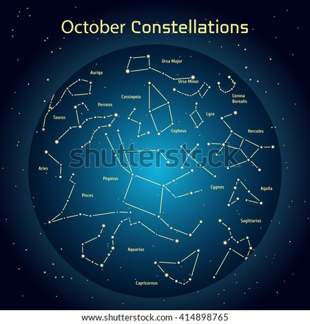 Vector illustration of the constellations of the night sky in October. Glowing a dark blue circle with stars in space Design elements relating to astronomy and astrology - stock vector