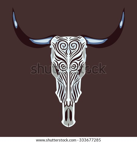 Vector illustration of the cow skull with ethnic ornaments - stock vector
