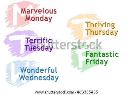 Vector Illustration of the 5 Days of the Week