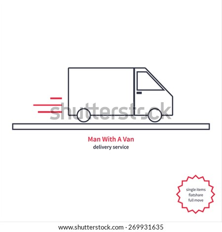 vector illustration of the delivery service man with a van - stock vector