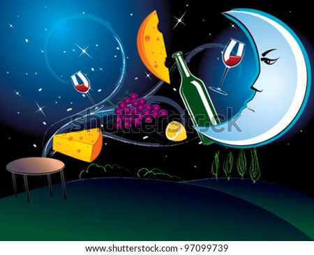 Vector illustration of the dinner in the moonlight with tasty food