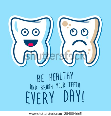 Vector illustration of the dirty ill and joy healthy  teeth, blue and red toothbrashes on a sky background. Fully editable illustration. Perfect for children illustrations, medcine care, images etc. - stock vector