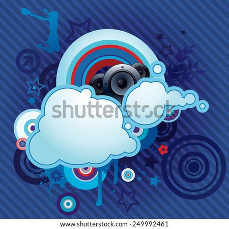 Vector illustration of the disco design with loudspeakers & clouds for copy space. - stock vector