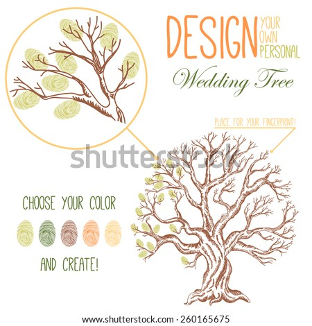 Vector illustration of the drawing tree. Variant of design of your family tree or wedding tree - stock vector