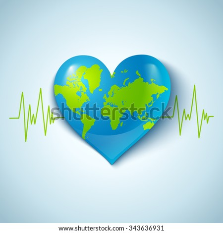 Vector illustration of the Earth in the form of heart - stock vector