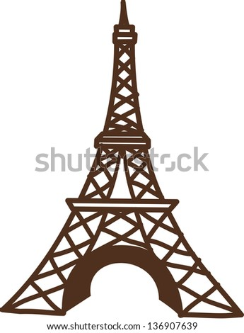 Vector illustration of The Eiffel Tower - stock vector