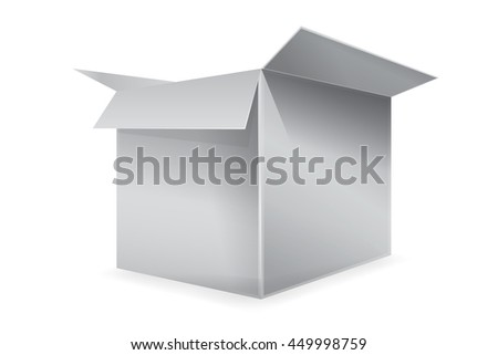 vector illustration of the empty cardboard box opened isolated on transparent white background