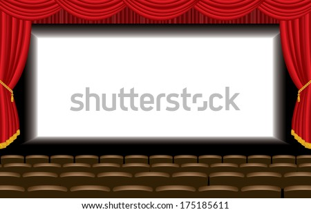 vector illustration of the empty cinema auditorium  - stock vector