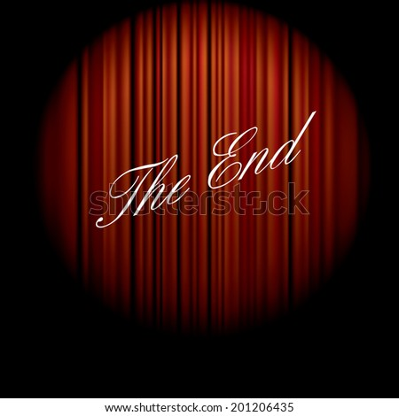 vector illustration of the end of the movie on red curtain  - stock vector