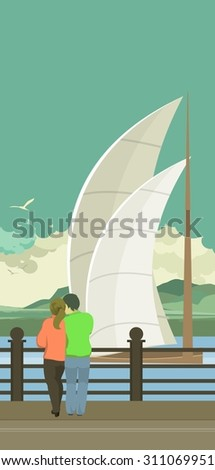 vector illustration of the evening Pier is a couple in love and looking at the water - stock vector