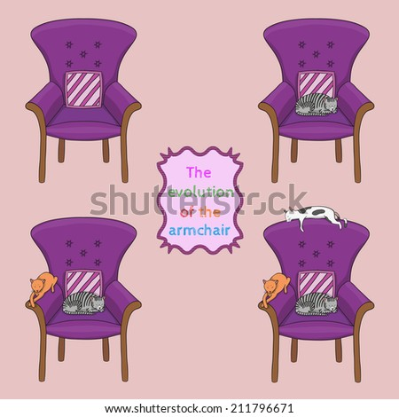 Vector illustration of the evolution of the armchair - set of 4 armchairs in different stages, eps 10 file - stock vector