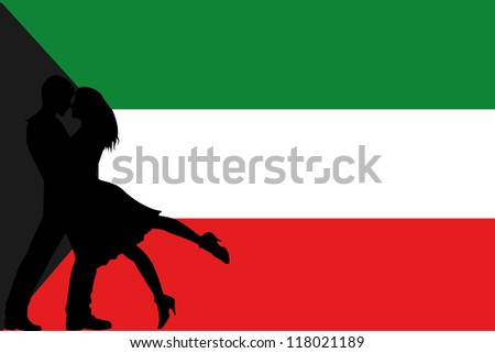 Vector illustration of the flag of Kuwait silhouette of a couple in love