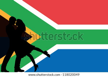 Vector illustration of the flag of South Africa silhouette of a couple in love