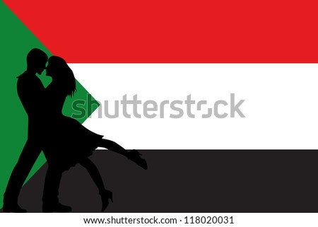 Vector illustration of the flag of Sudan silhouette of a couple in love