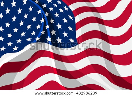 Vector illustration of the flag of the United States of America with folds indicating it is waving.