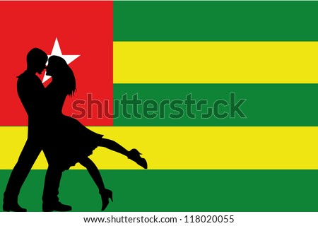 Vector illustration of the flag of Togo silhouette of a couple in love