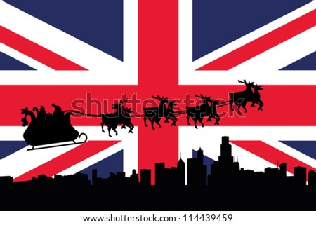 Vector Illustration of the flag of United Kingdom with santa flying his sliegh over a city - stock vector
