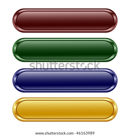 vector illustration of the four oblong shiny buttons - stock vector