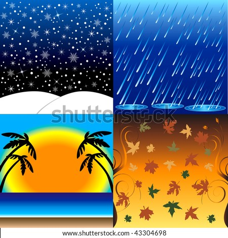 Vector Illustration of the four seasons, Winter, Spring, Summer and Fall. - stock vector