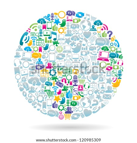 Vector Illustration of the globe made with social media icons. no transparencies.