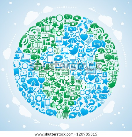 Vector Illustration of the globe made with social media icons. no transparencies. - stock vector