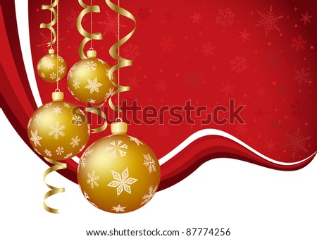 vector illustration of the golden baubles with wavy background - stock vector