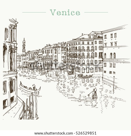 Vector illustration of the Grand Canal in Venice, Italy with boats, houses, gondolas and water, drawn in sketch style. Freehand illustration.