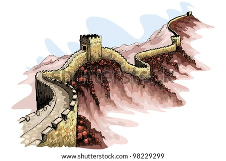 vector illustration of the Great wall of China against abstract background - stock vector
