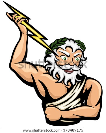 Vector illustration of the Greek god Zeus (or Jupiter, his Roman counterpart).