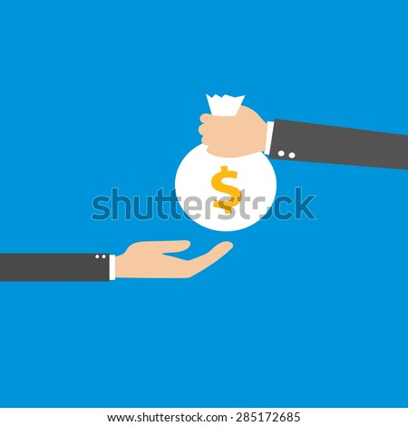 Vector illustration of the hand giving bag with money to a businessman. Flat design - stock vector