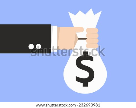 Vector illustration of the hand holding a bag with money. Flat design - stock vector