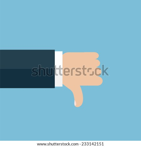 Vector illustration of the hand with thumb down. Icon on blue background - stock vector