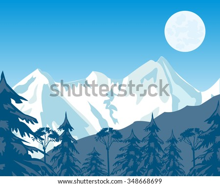 Vector illustration of the high mountains covered by snow