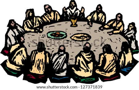 Vector illustration of the last supper - stock vector