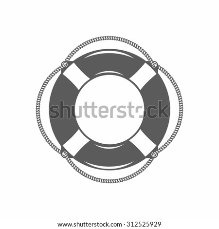 vector illustration of the lifebuoy in black and white in the old-fashioned style and line-art style. Can be used as a tattoo / Black and white vector illustration lifebuoy - stock vector