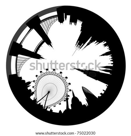 Vector illustration of the London skyline looks like ring - stock vector