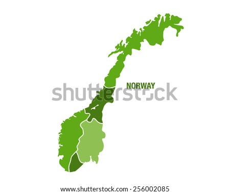 Vector illustration of the map of Norway