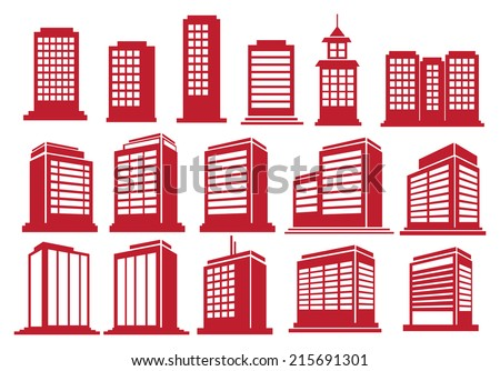 Vector illustration of the modern high rise buildings in various perspective views and designs - stock vector