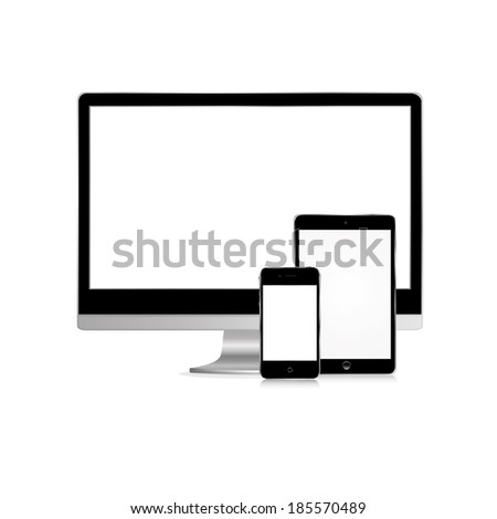 vector illustration of the monitor, tablet and phone on white background - stock vector