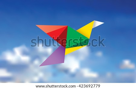 vector illustration of the multicolor paper bird on the cloudy sky