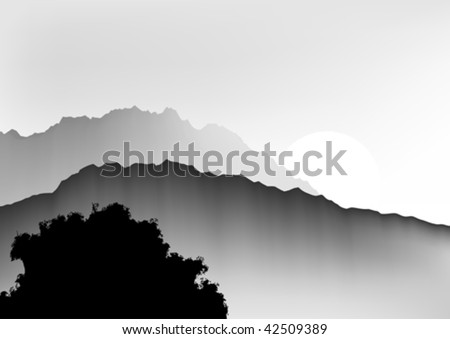 Vector illustration of the Orient ink painting of hills.