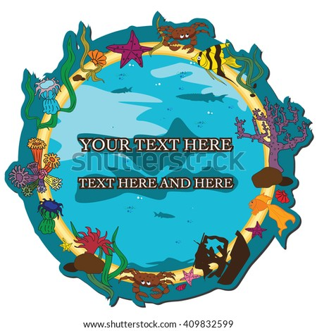 Vector illustration of the original round card with cartoon elements of underwater world
