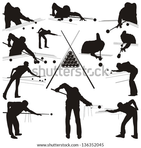 Vector illustration of the people playing in the billiards - stock vector